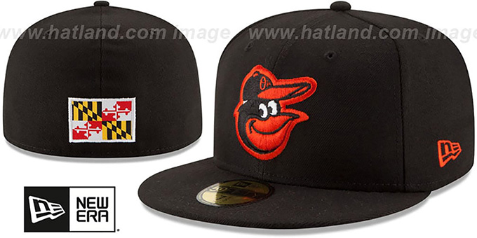 Orioles 'STATE STARE' Black Fitted Hat by New Era : pictured without stickers that these products are shipped with