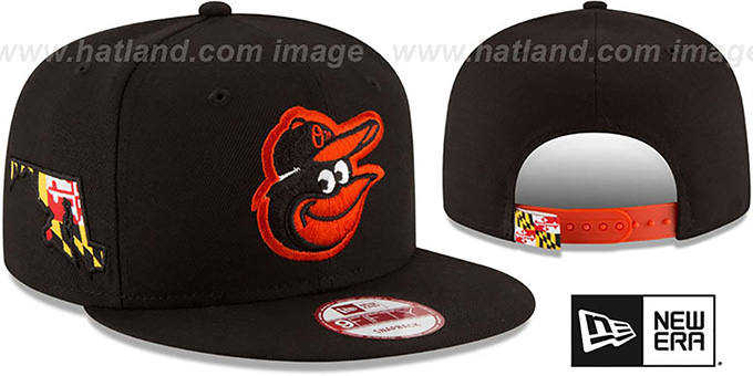 Orioles 'STATE STARE SNAPBACK' Black Hat by New Era : pictured without stickers that these products are shipped with