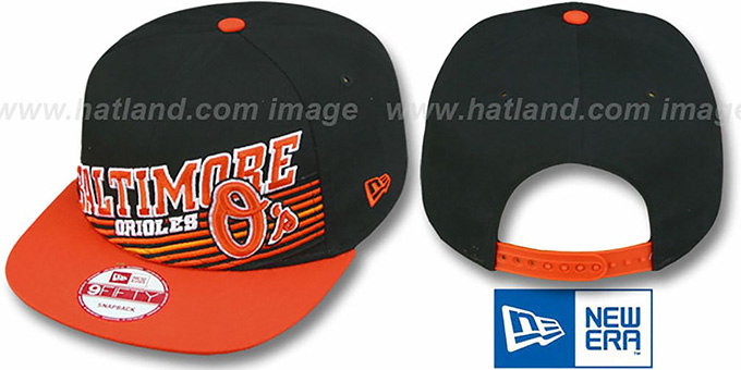 Orioles 'STILL ANGLIN SNAPBACK' Black-Orange Hat by New Era : pictured without stickers that these products are shipped with