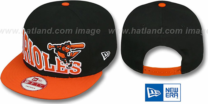 Orioles 'STOKED SNAPBACK' Black-Orange Hat by New Era : pictured without stickers that these products are shipped with