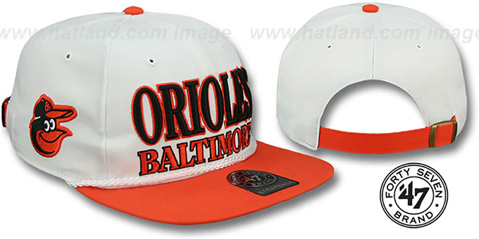 Orioles 'TASTY ROPE STRAPBACK' White-Orange Hat by Twins 47 Brand : pictured without stickers that these products are shipped with