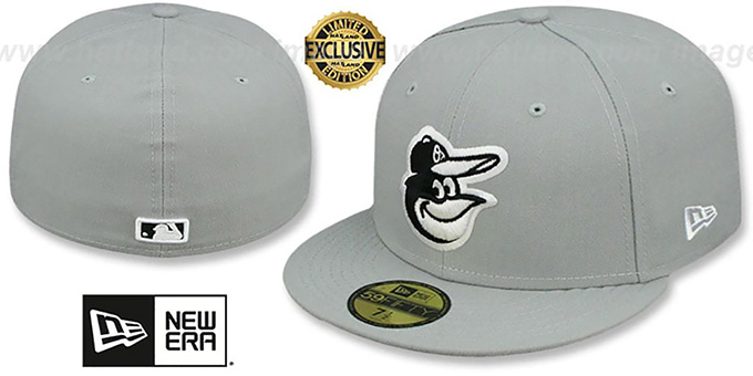 Orioles 'TEAM-BASIC' Grey-Black-White Fitted Hat by New Era : pictured without stickers that these products are shipped with