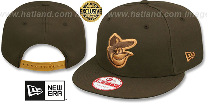 Orioles 'TEAM-BASIC SNAPBACK' Brown-Wheat Hat by New Era : pictured without stickers that these products are shipped with