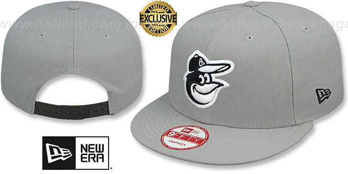 Orioles 'TEAM-BASIC SNAPBACK' Grey-Black Hat by New Era : pictured without stickers that these products are shipped with