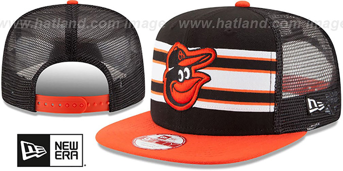 Orioles 'THROWBACK-STRIPE SNAPBACK' Black-Orange Hat by New Era : pictured without stickers that these products are shipped with