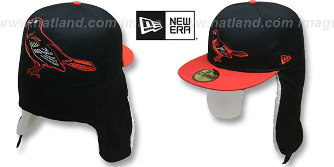 Orioles 'TRACE DOGEAR' Black-Orange Fitted Hat by New Era : pictured without stickers that these products are shipped with