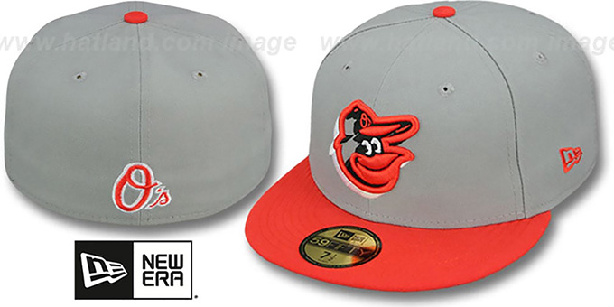Orioles 'TRACE-POP' Grey-Orange Fitted Hat by New Era : pictured without stickers that these products are shipped with