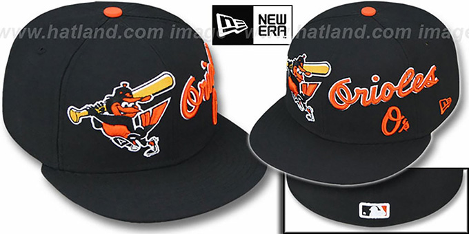 Orioles 'TRIPLE PLAY' Black Fitted Hat by New Era : pictured without stickers that these products are shipped with