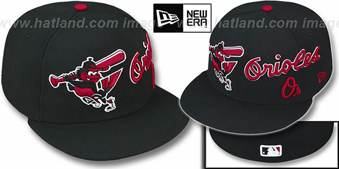 Orioles 'TRIPLE PLAY' Black-Red Fitted Hat by New Era : pictured without stickers that these products are shipped with