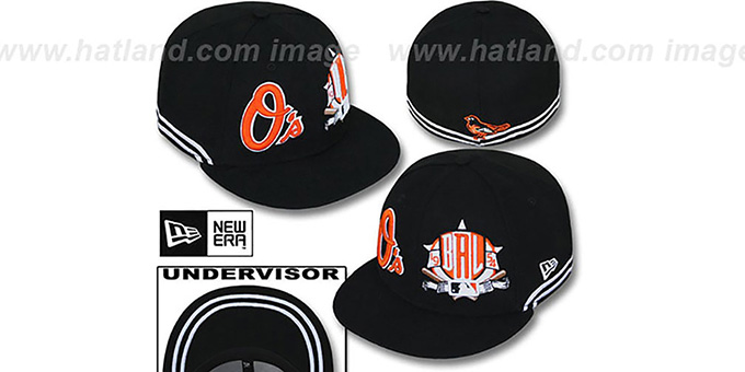 Orioles 'TWO-BIT' Black-White Fitted Hat by New Era : pictured without stickers that these products are shipped with