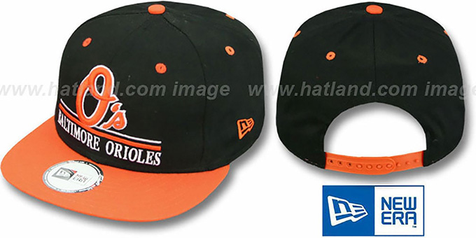 Orioles 'UNDERLINE SNAPBACK' Black-Orange Hat by New Era : pictured without stickers that these products are shipped with