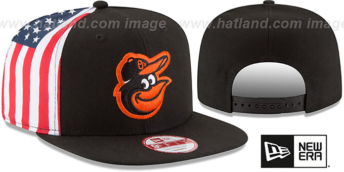 Orioles 'USA FLAG-SIDE SNAPBACK' Black Hat by New Era : pictured without stickers that these products are shipped with