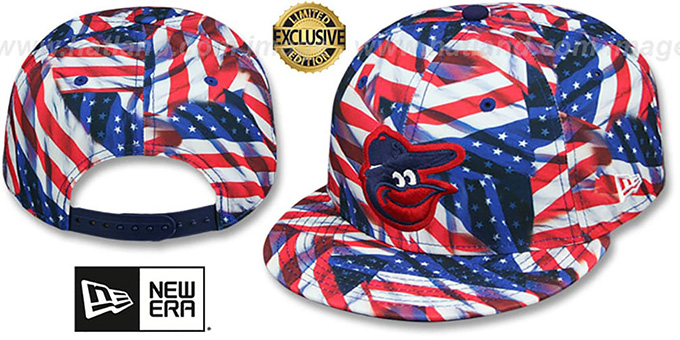 Orioles 'USA WAVING FLAG ALL-OVER SNAPBACK' Hat by New Era : pictured without stickers that these products are shipped with