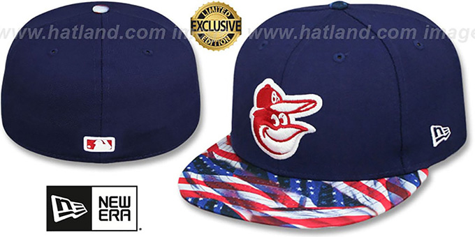 Orioles 'USA WAVING-FLAG' Navy Fitted Hat by New Era : pictured without stickers that these products are shipped with