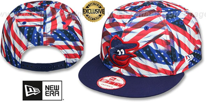 Orioles 'USA WAVING FLAG SNAPBACK' Flag-Navy Hat by New Era : pictured without stickers that these products are shipped with