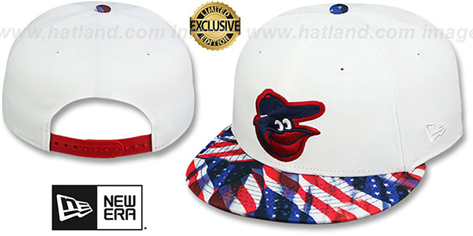 Orioles 'USA WAVING FLAG SNAPBACK' White-Flag Hat by New Era : pictured without stickers that these products are shipped with