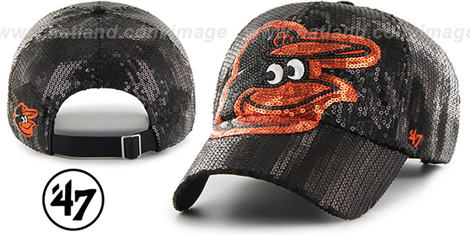 Orioles 'WOMENS DAZZLE STRAPBACK' Black Hat by Twins 47 Brand : pictured without stickers that these products are shipped with