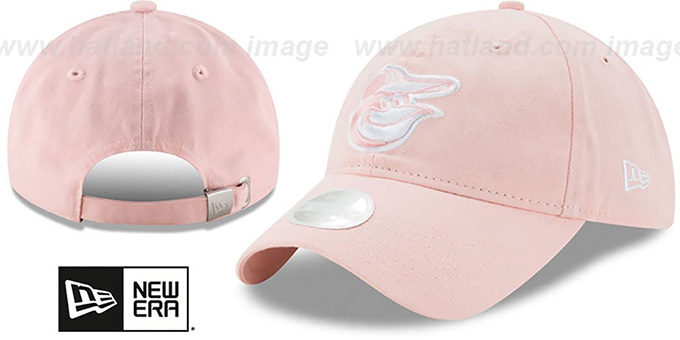 Orioles 'WOMENS PREFERRED PICK STRAPBACK' Light Pink Hat by New Era : pictured without stickers that these products are shipped with