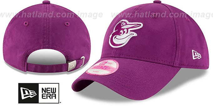 Orioles 'WOMENS PREFERRED PICK STRAPBACK' Purple Hat by New Era : pictured without stickers that these products are shipped with