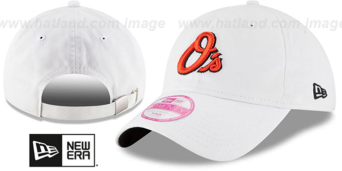 Orioles 'WOMENS PREFERRED PICK STRAPBACK' White Hat by New Era : pictured without stickers that these products are shipped with