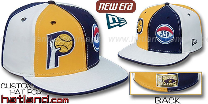 Pacers ABA 'DOUBLE WHAMMY' Gold-Navy-White Fitted Hat : pictured without stickers that these products are shipped with