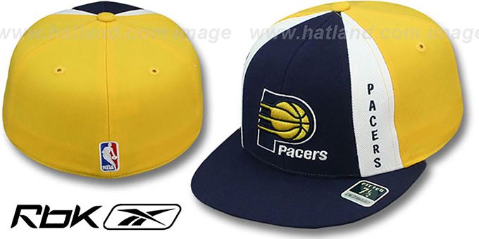 Pacers 'AJD THROWBACK PINWHEEL' Navy-Yellow Fitted Hat by Reebok