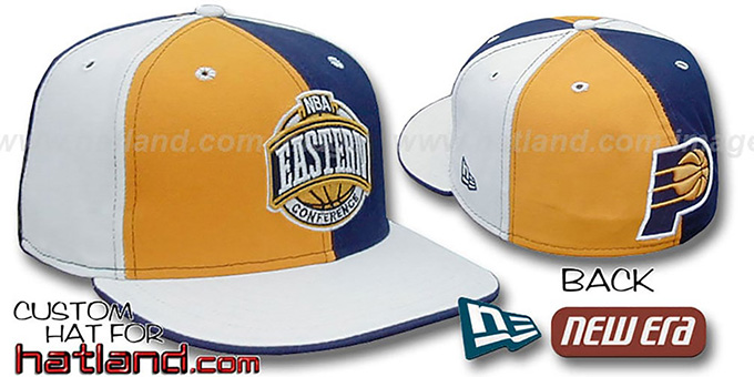 Pacers CONFERENCE 'PINWHEEL' Gold-Navy-White Fitted Hat : pictured without stickers that these products are shipped with