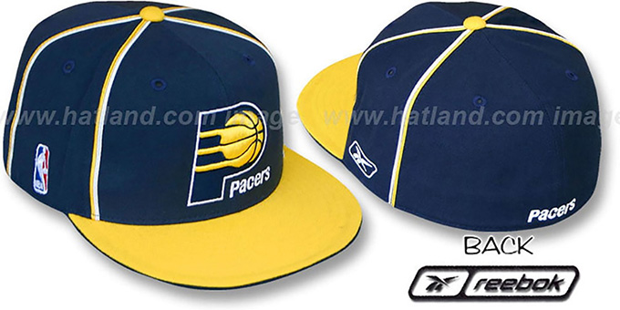 Pacers 'CROSS TAPED' Fitted Hat by Reebok : pictured without stickers that these products are shipped with