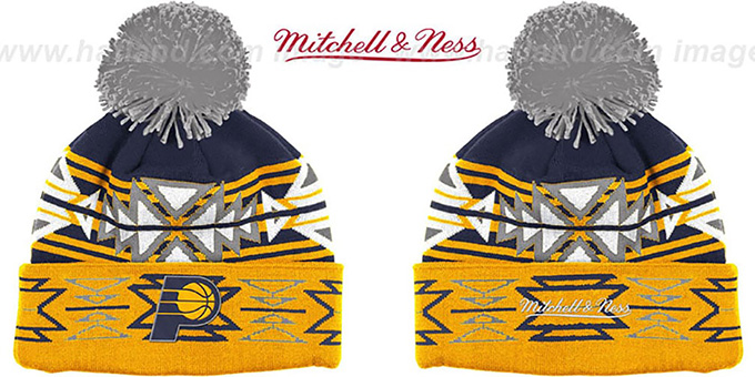 Pacers 'GEOTECH' Knit Beanie by Mitchell and Ness : pictured without stickers that these products are shipped with