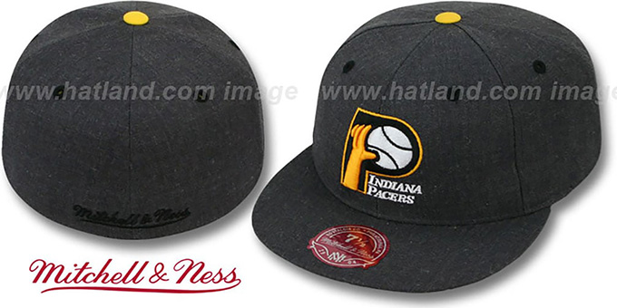 Pacers 'GREY HEDGEHOG' Fitted Hat by Mitchell & Ness : pictured without stickers that these products are shipped with