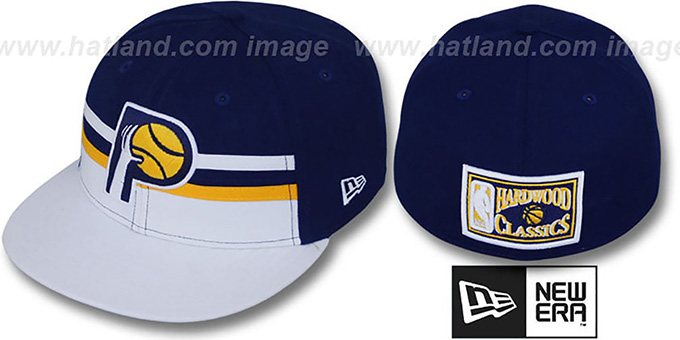 Pacers 'HARDWOOD HORIZON' Fitted Hat by New Era : pictured without stickers that these products are shipped with