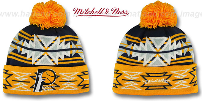 Pacers HWC 'GEOTECH' Knit Beanie by Mitchell and Ness : pictured without stickers that these products are shipped with