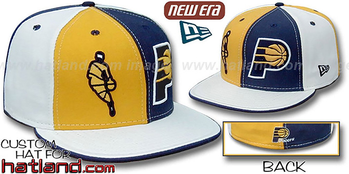 Pacers INSIDER 'DOUBLE WHAMMY' Gold-Navy-White Fitted Hat : pictured without stickers that these products are shipped with