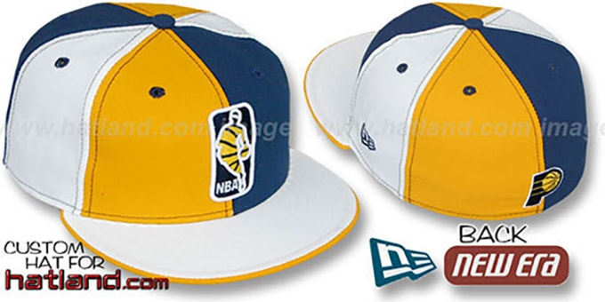 Pacers 'KEY-INSIDER PINWHEEL' Gold-Navy-White Fitted Hat : pictured without stickers that these products are shipped with