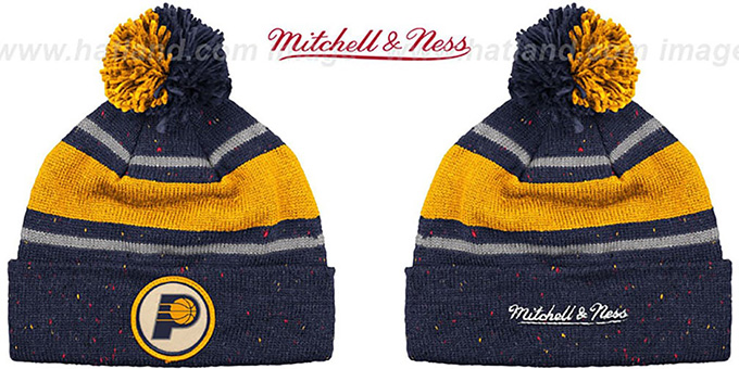 Pacers 'SPECKLED' Navy-Gold Knit Beanie by Mitchell and Ness : pictured without stickers that these products are shipped with