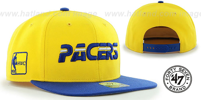 Pacers  SURE-SHOT SNAPBACK  Gold-Royal Hat by Twins ... 9851be1a7a4
