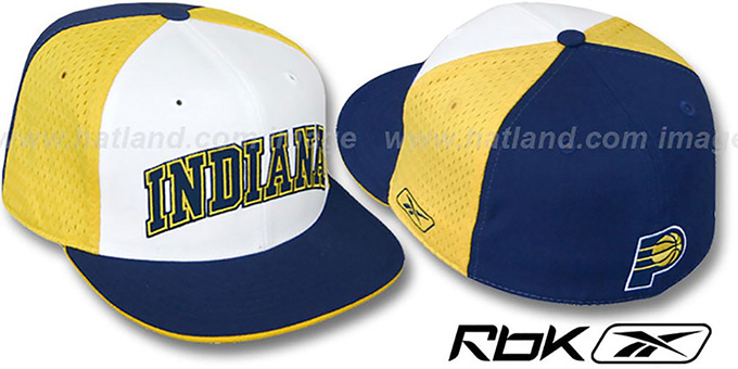 Pacers 'SWINGMAN' White-Gold-Navy Fitted Hat by Reebok : pictured without stickers that these products are shipped with
