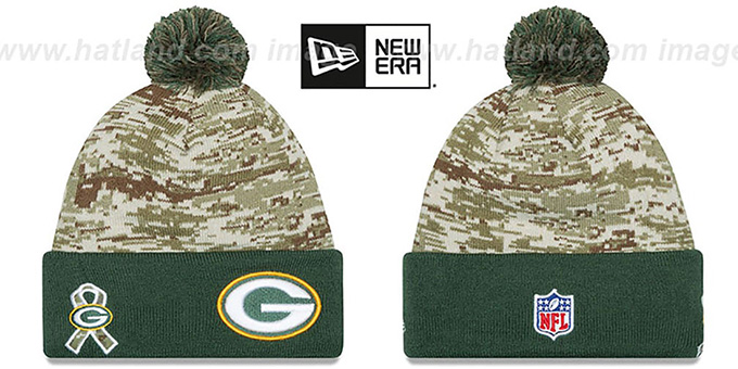 Packers '2015 SALUTE-TO-SERVICE' Knit Beanie Hat by New Era : pictured without stickers that these products are shipped with