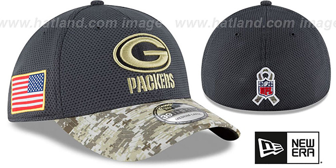 Packers '2016 SALUTE-TO-SERVICE FLEX' Grey-Desert Hat by New Era : pictured without stickers that these products are shipped with
