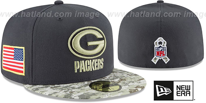 Packers '2016 SALUTE-TO-SERVICE' Grey-Desert Fitted Hat by New Era : pictured without stickers that these products are shipped with