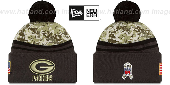 Packers '2016 SALUTE-TO-SERVICE' Knit Beanie Hat by New Era : pictured without stickers that these products are shipped with