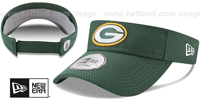 Packers '2017 NFL TRAINING VISOR' Green by New Era : pictured without stickers that these products are shipped with