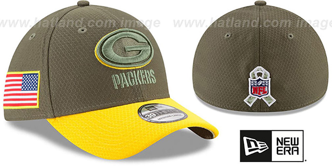 d835a4ddc03 Packers 2017 SALUTE-TO-SERVICE FLEX Green-Gold Hat by New Era