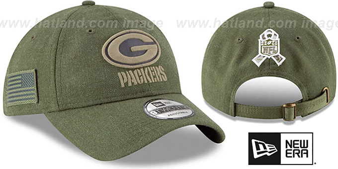 34414ecbe Packers  2018 SALUTE-TO-SERVICE STRAPBACK  Olive Hat by ...