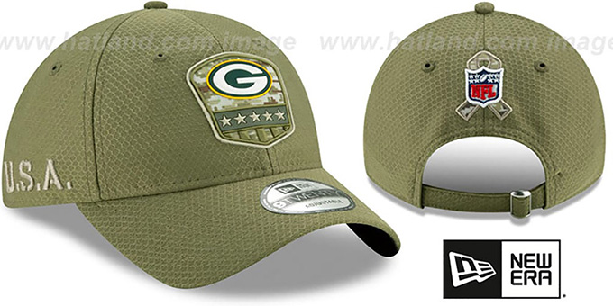 Packers '2019 SALUTE-TO-SERVICE STRAPBACK' Olive Hat by New Era