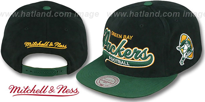 Packers '2T TAILSWEEPER SNAPBACK' Black-Green Hat by Mitchell & Ness : pictured without stickers that these products are shipped with