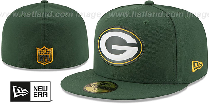 Packers 'BEVEL' Green Fitted Hat by New Era : pictured without stickers that these products are shipped with