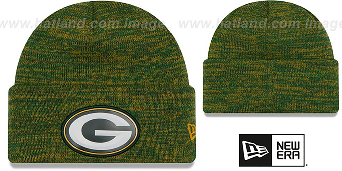 b85d0d678c7 Packers  BEVEL  Green-Gold Knit Beanie Hat by New Era