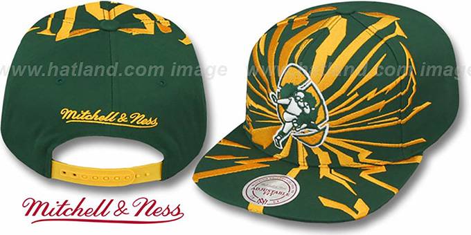 Packers 'EARTHQUAKE SNAPBACK' Green Hat by Mitchell & Ness : pictured without stickers that these products are shipped with