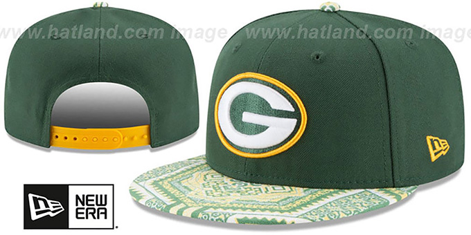 Packers 'KALEIDOVIZE SNAPBACK' Green Hat by New Era : pictured without stickers that these products are shipped with